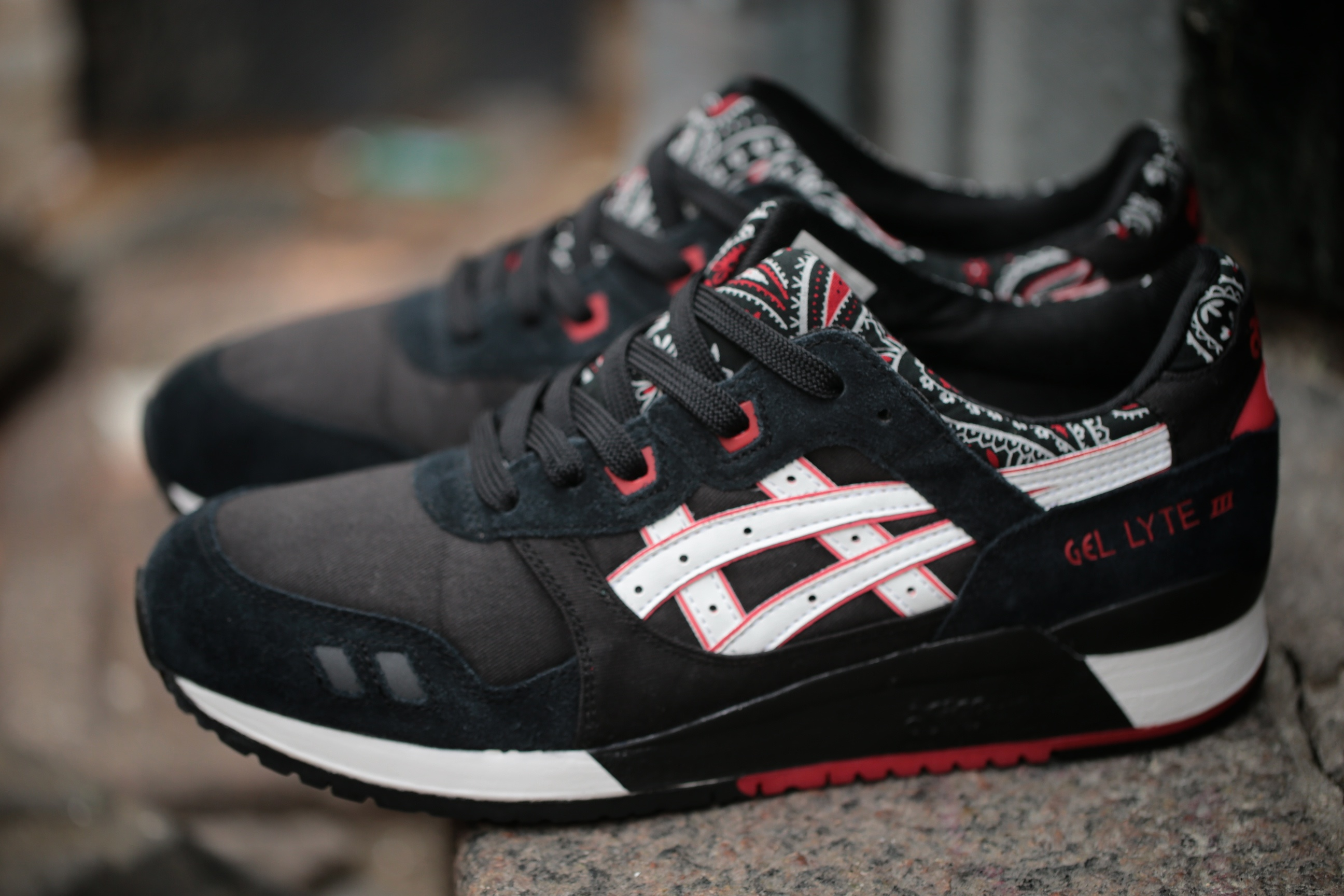 asics gel lyte 3 red black white