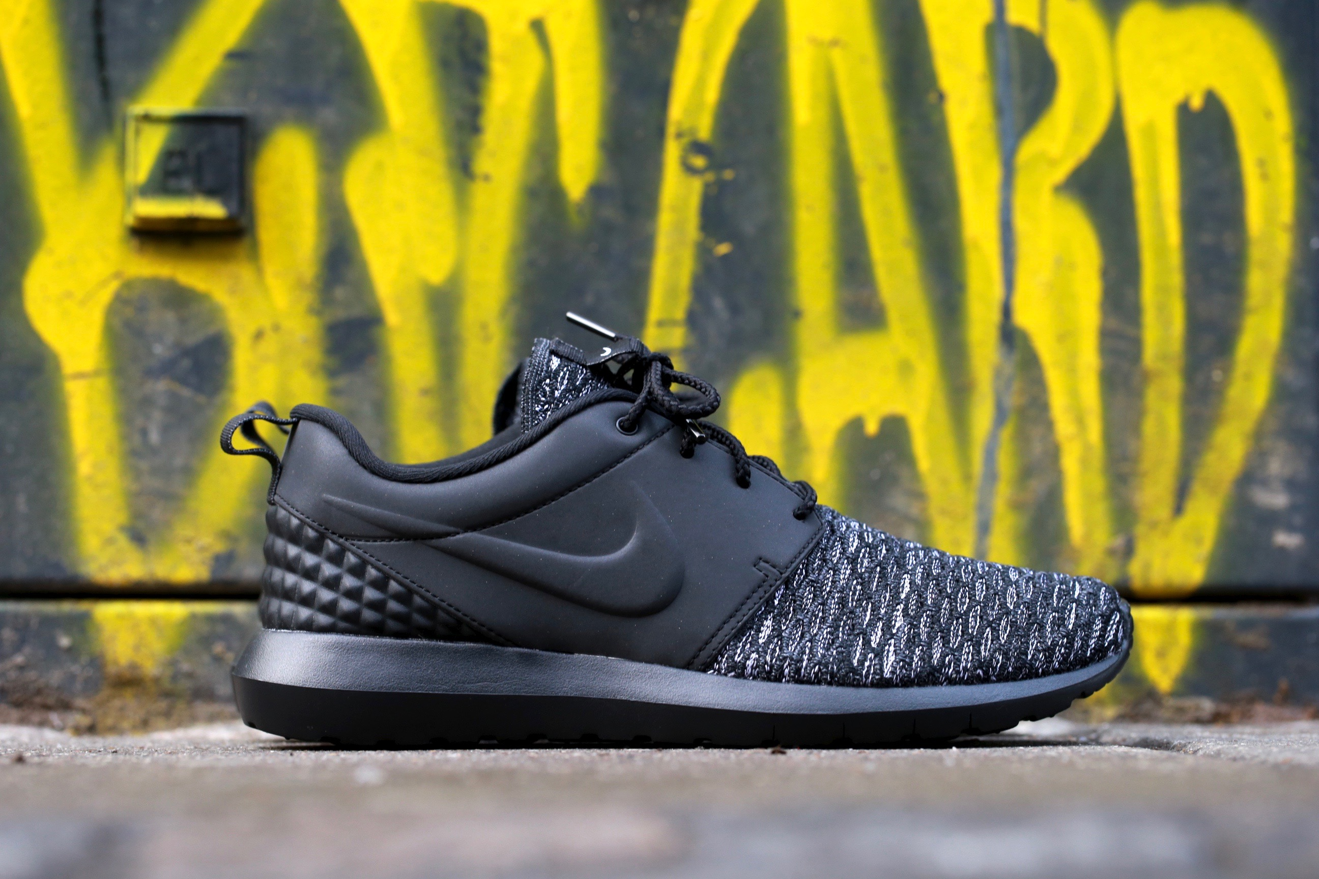 5b076287fa7d Nike Roshe One NM Flyknit Premium – Black   Dark Grey   White – STASP