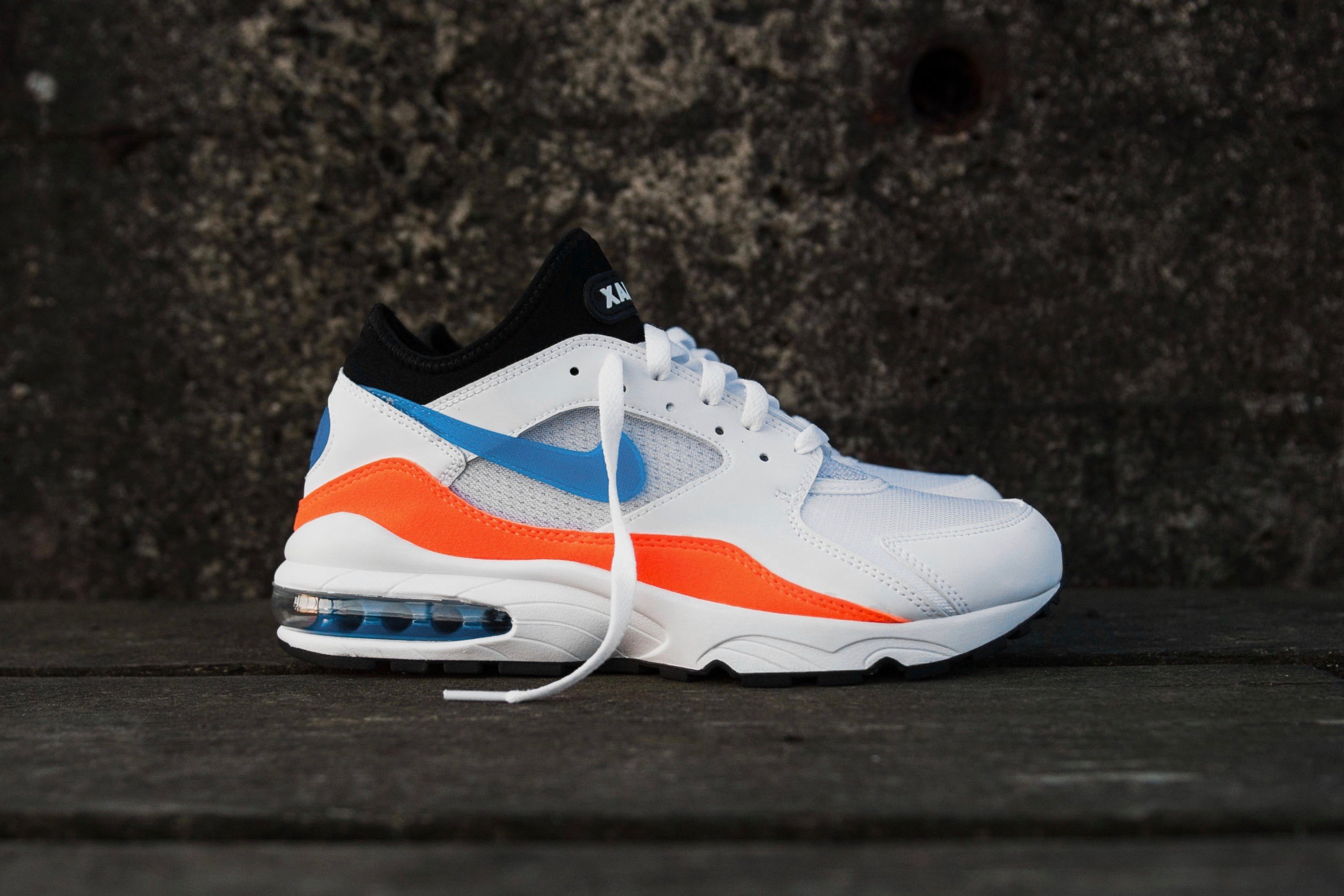 59892b6a9cc2 Nike Air Max 93 – White   Total Orange   Black  Blue Nebula – STASP