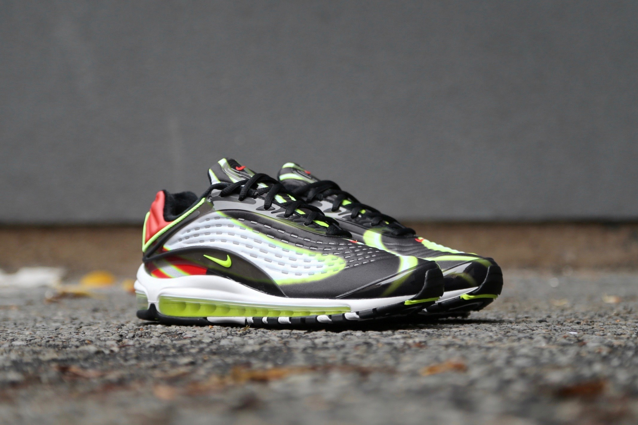 657d4c33fc Nike Air Max Deluxe – Black / Habanero Red / White / Volt – STASP