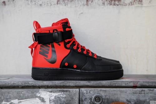 5b0f5bb46667b Nike SF Air Force 1 Mid - Habanero Red   Black