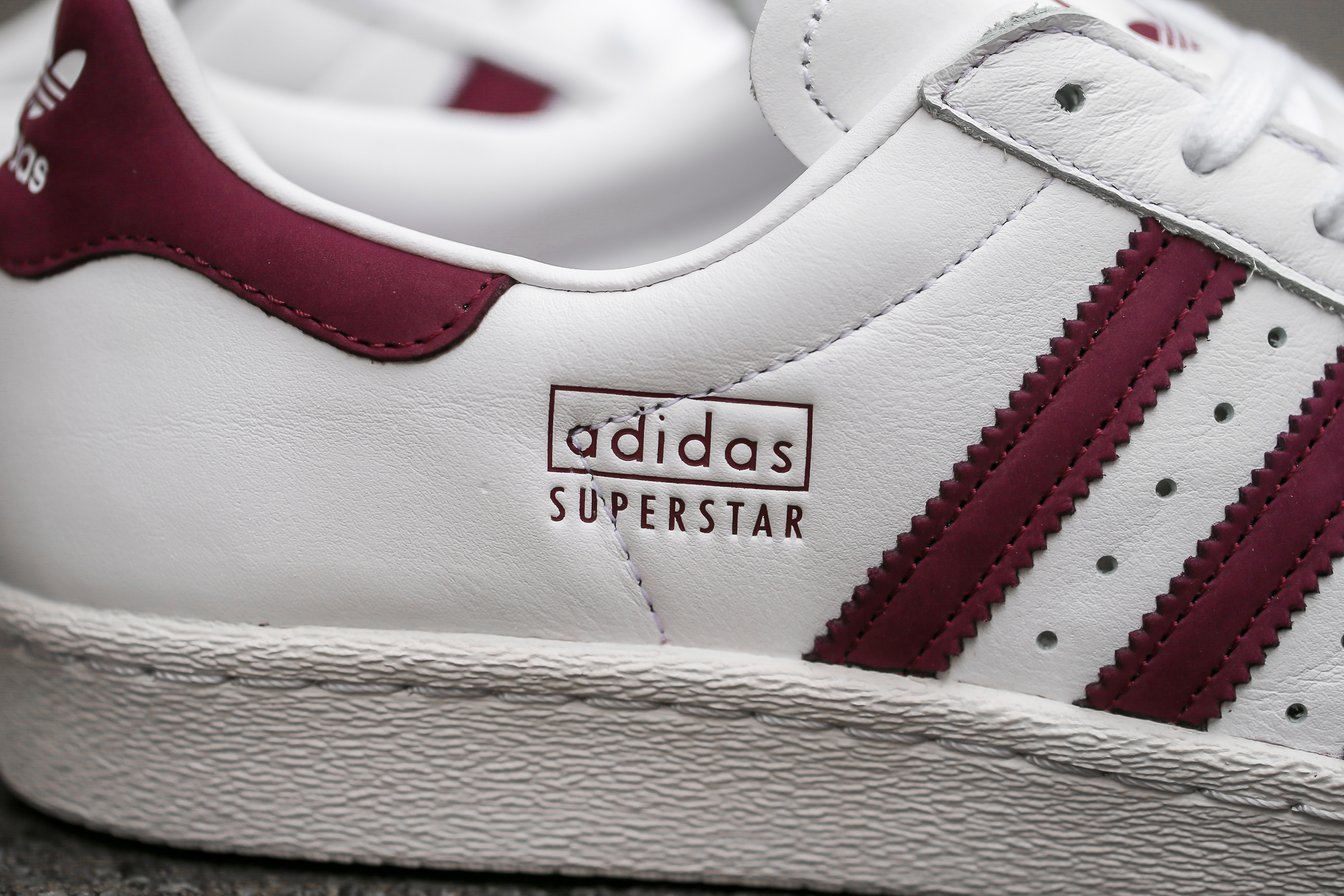 13951ba2d9 adidas Originals Superstar 80s – Ftwr White   Maroon   Crystal White ...