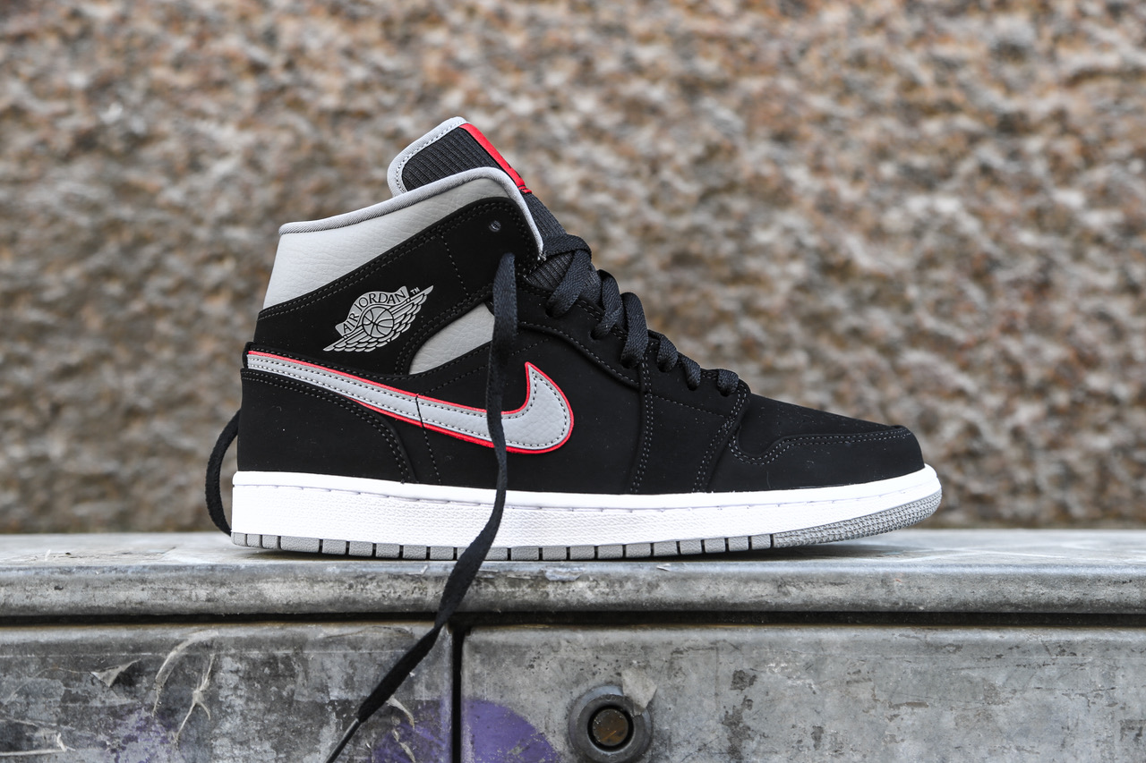 promo code 235ae 198a9 Air Jordan 1 Mid - Black / White / Gym Red / Particle Grey